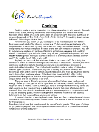 Cooking (English Topic)