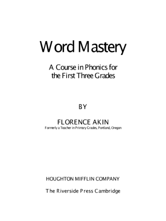 Word Mastery - a Course in Phonics for 1-3 grades