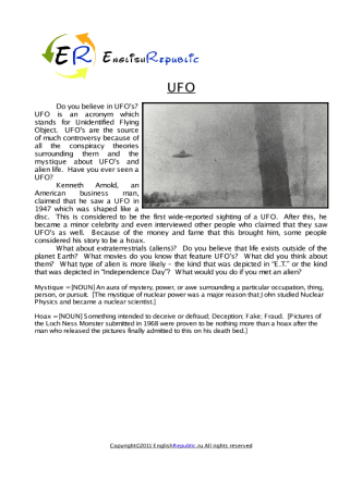 UFO (English Topic)