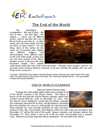 The End of the World (English Topic)