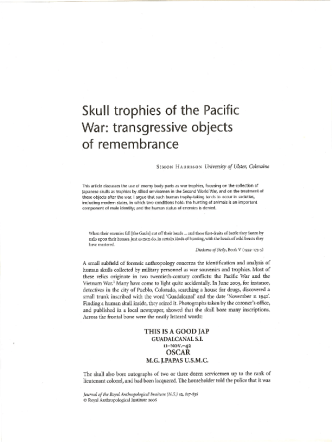 Harrison S. - Skull Trophies of the Pacific War. Transgressive Objects of Remembrance