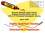 Highly Qualified Teacher - Cleveland Metropolitan School District