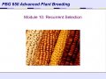 Recurrent Selection - Crop and Soil Science