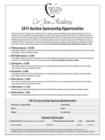 2015 Cor Jesu Auction Sponsorship Information