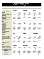 Commonwealth of Virginia 2015 Pay and Holiday Calendar