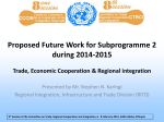 Proposed Future Work for Subprogramme 2 during 2014-2015