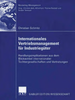 Christian Schmitz - Internationales Vertriebsmanagement fur Industrieguter- Handlungsimplikationen aus dem Blickwinkel internationaler Tochtergesellschaften und Vertretungen