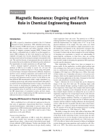 Magnetic resonance  Ongoing and future role in chemical engineering research.
