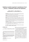 Healthcare and the long haul Long distance truck driversтАФa medically underserved population.