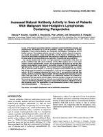 Increased natural antibody activity in sera of patients with malignant non-Hodgkin's lymphomas containing paraproteins.