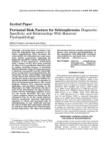 perinatal factors and schizophrenia essay Although a family history of schizophrenia is the best-established risk factor for schizophrenia, environmental factors such as the place and season of birth may also be important methods using data from the civil registration system in denmark, we established a population-based cohort of 175 million persons whose mothers were danish women born between 1935 and 1978.