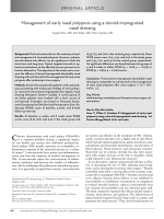 Management of early nasal polyposis using a steroid-impregnated nasal dressing.