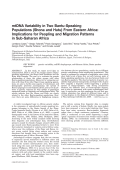 mtDNA variability in two Bantu-speaking populations (Shona and Hutu) from Eastern Africa  Implications for peopling and migration patterns in sub-Saharan Africa.