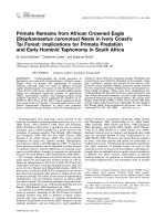 Primate remains from African crowned eagle (Stephanoaetus coronatus) nests in Ivory Coast's Tai Forest  Implications for primate predation and early hominid taphonomy in South Africa.