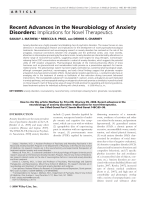 Recent advances in the neurobiology of anxiety disorders  Implications for novel therapeutics.