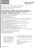 Summaries from the XIX world congress of psychiatric genetics  Washington  DC  September 10Ц14  2011.