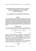 Bead-spring model of dilute polymer solutions  Continuum modifications and an explicit constitutive equation.