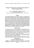Change of orientation by thermal contraction of polyacrylonitrile fiber.