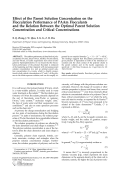 Effect of the parent solution concentration on the flocculation performance of PAAm flocculants and the relation between the optimal parent solution concentration and critical concentrations.