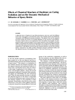 Effects of chemical structure of hardener on curing evolution and on the dynamic mechanical behavior of epoxy resins.