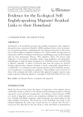 Evidence for the ecological self  English-speaking migrants' residual links to their homeland.