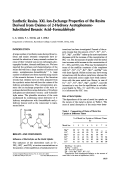 Synthetic resins. XXI. Ion-exchange properties of the resins derived from oximes of 2-hydroxy acetophenone-substituted benzoic acidЦformaldehyde