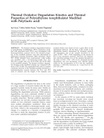 Thermal oxidative degradation kinetics and thermal properties of poly(ethylene terephthalate) modified with poly(lactic acid).