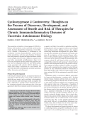 Cyclooxygenase 2 controversyThoughts on the process of discovery development and assessment of benefit and risk of therapies for chronic immunoinflammatory diseases of uncertain autoimmune etiology.