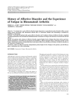 History of affective disorder and the experience of fatigue in rheumatoid arthritis.
