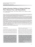 Medical decision making in patients with knee pain meniscal tear and osteoarthritis.