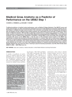 Medical gross anatomy as a predictor of performance on the USMLE step 1.