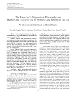 The impact of a diagnosis of fibromyalgia on health care resource use by primary care patients in the UKAn observational study based on clinical practice.