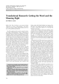Translational researchGetting the word and the meaning right.