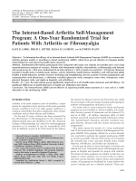 The internet-based arthritis self-management programA one-year randomized trial for patients with arthritis or fibromyalgia.