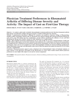 Physician treatment preferences in rheumatoid arthritis of differing disease severity and activityThe impact of cost on first-line therapy.