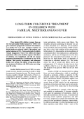 Long-term colchicine treatment in children with familial mediterranean fever.