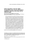 Lipid composition of the pea aphid Acyrthosiphon pisum Harris homopteraAphididae reared on host plant and on artificial media.