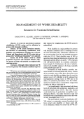 Management of work disability. resources for vocational rehabilitation