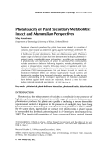 Phototoxicity of plant secondary metabolitesInsect and mammalian perspectives.