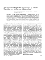 The relation of age to the incorporation of tritiated thymidine into the thymus of fischer rats.