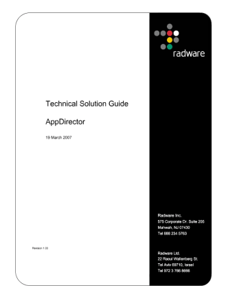 Appdirector Radware solution guide