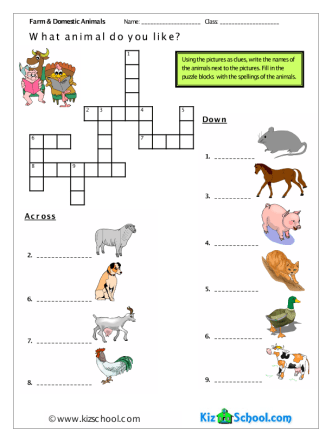 Animals Farm Crossword