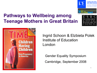 Pathways to economic wellbeing among teenage mothers in