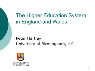 The Higher Education System in England