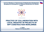 Practices of collaboration with local industry in projects of NPP