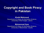 Copyright and Book Piracy in Pakistan by Dr Khalid Mahmood