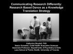 Research Based Dance as a Knowledge Translation Strategy