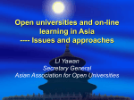 Open universities and on-line learning in Asia ---- Issues