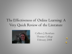 The Effectiveness of Online Learning