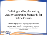 Defining and Implementing Quality Assurance Standards for Online